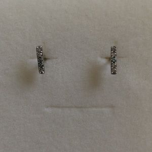 Jewelry - Bar Earrings with CZs - Silver